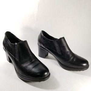 Dansko Black Leather Slip On Heeled Clog Booties